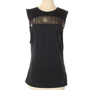 Nike Open Back Mesh Cut Out Black Tank - Sz S